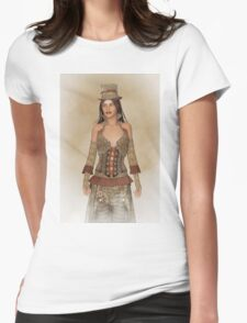 Steampunk Wild West Lady Womens Fitted T-Shirt