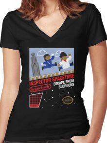 8-Bit Inspector Women's Fitted V-Neck T-Shirt