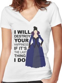 Regina Mills - Destroy Your Happiness Women's Fitted V-Neck T-Shirt