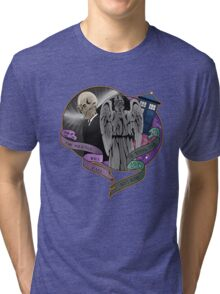 The Silent Angel in a Blue Box Tri-blend T-Shirt