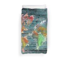 World map splash Duvet Cover