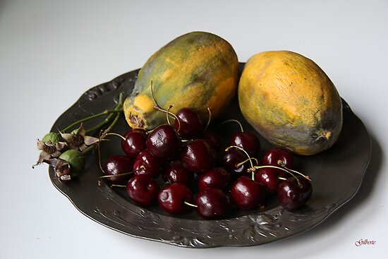 Papayas and cherries on Pewter Plate by Gilberte