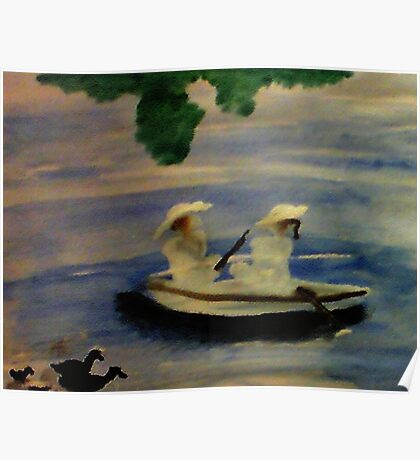 On the lake , watercolor Poster