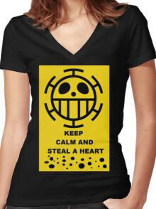 ONE PIECE TRAFALGAR LAW KEEP CALM AND STEAL A HEART Women's Fitted V-Neck T-Shirt