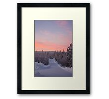 Snow Road and Lapland sunset Framed Print