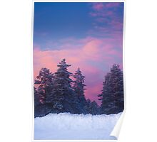 Snow and sunset Poster