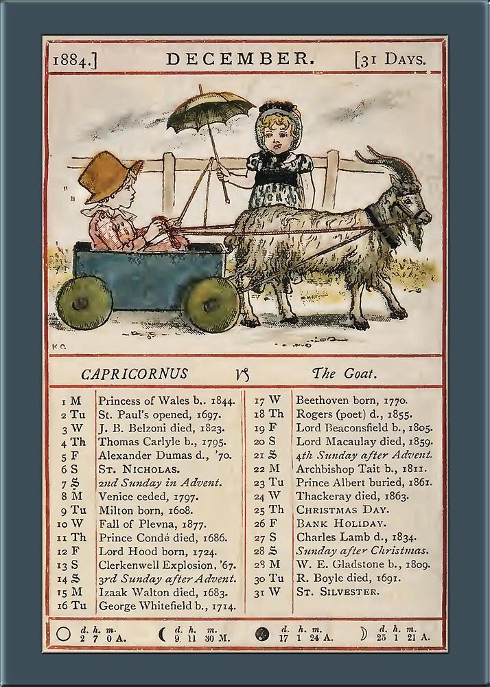 Greetings-Kate Greenaway December Almanac Page by Yesteryears