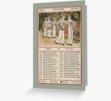 Greetings-Kate Greenaway August Almanac Page Greeting Card