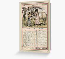 Greetings-Kate Greenaway  March Almanac Page Greeting Card