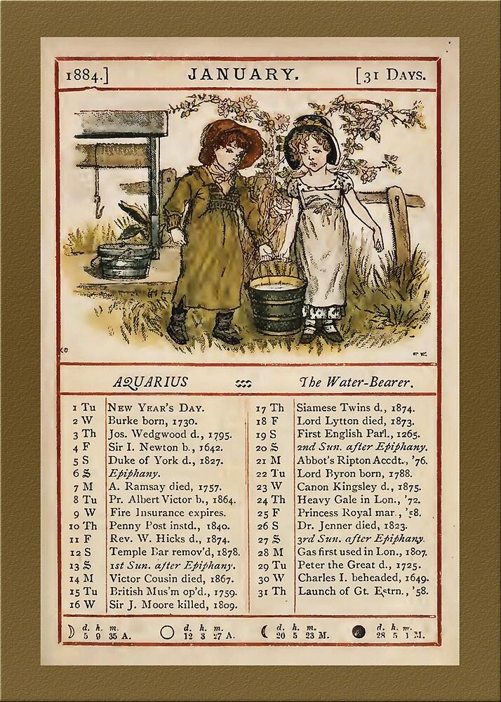 Greetings-Kate Greenaway  January Almanac Page by Yesteryears
