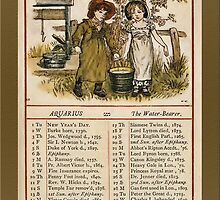 Greetings-Kate Greenaway  January Almanac Page by Yesteryears