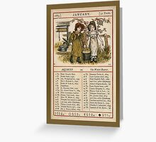 Greetings-Kate Greenaway  January Almanac Page Greeting Card