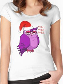 Santa Owl  Women's Fitted Scoop T-Shirt