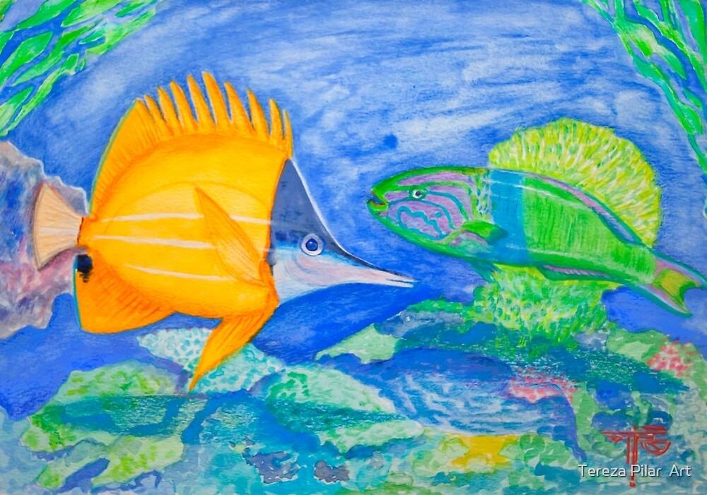 tropical fish. yellow and parrott fish. peixe papagaio by terezadelpilar~ art & architecture