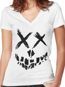 Suicide Skwad Skull Women's Fitted V-Neck T-Shirt
