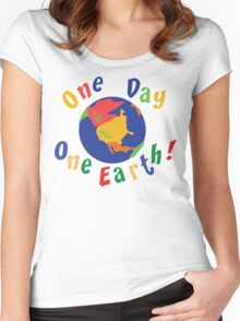 """Earth Day """"One Day One Earth"""" Women's Fitted Scoop T-Shirt"""