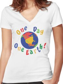 """Earth Day """"One Day One Earth"""" Women's Fitted V-Neck T-Shirt"""