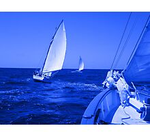 Caribbean Sloops Sailing - Blue Photographic Print
