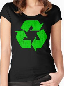 Earth Day Grunge Recycle Symbol Women's Fitted Scoop T-Shirt