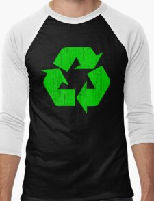 Earth Day Grunge Recycle Symbol Men's Baseball ¾ T-Shirt
