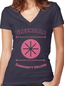 Greendale Community College E Pluribus Anus Women's Fitted V-Neck T-Shirt