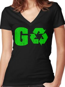 Earth Day Grunge Go Recycle Women's Fitted V-Neck T-Shirt