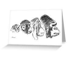 Four Monkeys Greeting Card