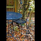 Black Wrought Iron Bistro Table And Chair In Winter Garden by © Sophie W. Smith