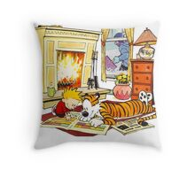 Calvin and hobbes waiting Christmas Throw Pillow