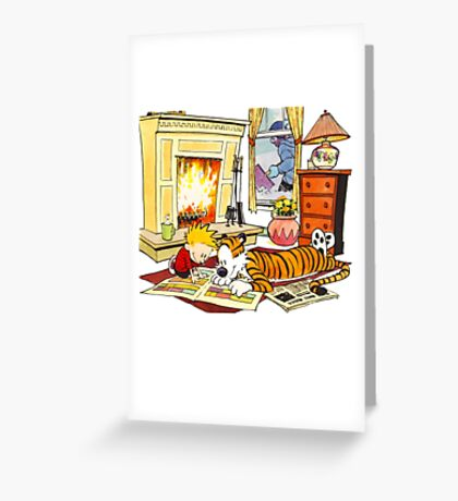 Calvin and hobbes waiting Christmas Greeting Card