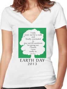 Earth Day 2013 John Muir Women's Fitted V-Neck T-Shirt