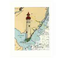 Cape May Lighthouse NJ Nautical Chart Cathy Peek Art Print
