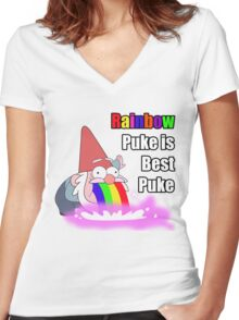 Puking Rainbows Women's Fitted V-Neck T-Shirt