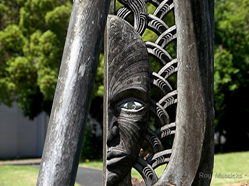 One Eyed........!  Maori carving. by Roy  Massicks
