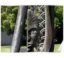 One Eyed........!  Maori carving. Poster