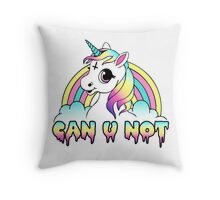 Can U Not - Pastel Goth Unicorn Throw Pillow