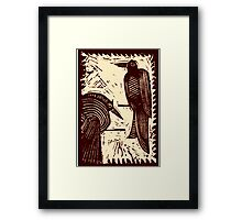 Sepia Pair of Birds Original Hand Pulled Linoleum Print Framed Print