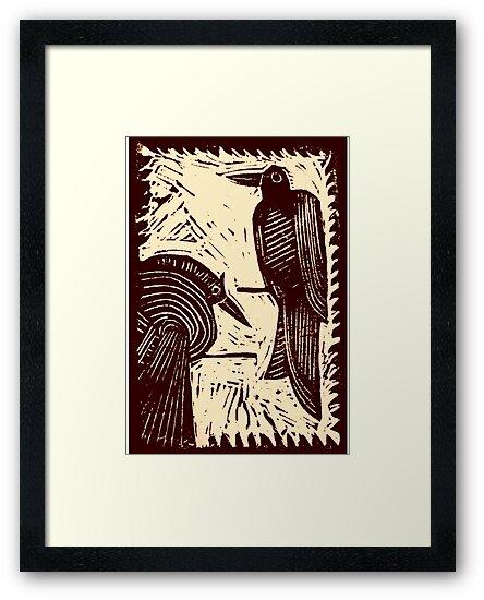 Sepia Pair of Birds Original Hand Pulled Linoleum Print by KFStudios