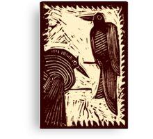 Sepia Pair of Birds Original Hand Pulled Linoleum Print Canvas Print