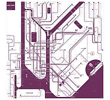 INAT New York City Subway Monochrome Map Photographic Print