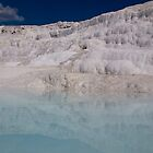 White natural pool with magical healing water, white stone, Pamucale, Turkey by Kirk D. Belmont Photography
