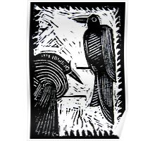 Black Birds Original Hand Pulled Linoleum Print Poster