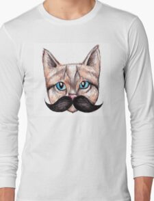 Moustache Cat Long Sleeve T-Shirt
