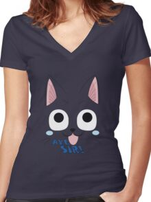 Aye Sir! Women's Fitted V-Neck T-Shirt