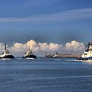 Harbour tugs in a Row - Newcastle Harbour NSW Australia by Phil Woodman