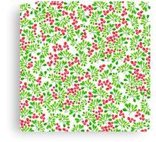Christmas Branch + Berries Canvas Print