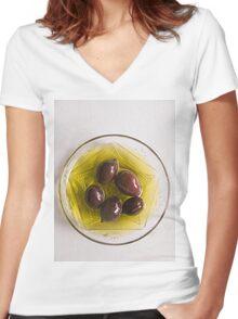 Olives Women's Fitted V-Neck T-Shirt