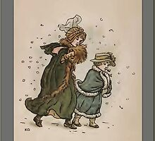 Greetings-Kate Greenaway-Boy/Girl in Snow by Yesteryears