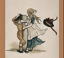 Greetings-Kate Greenaway-Girls on Windy Day by Yesteryears