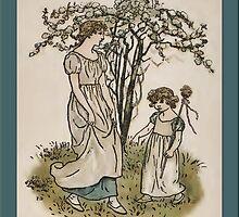 Greetings-Kate Greenaway-Mother/Daughter under Tree by Yesteryears